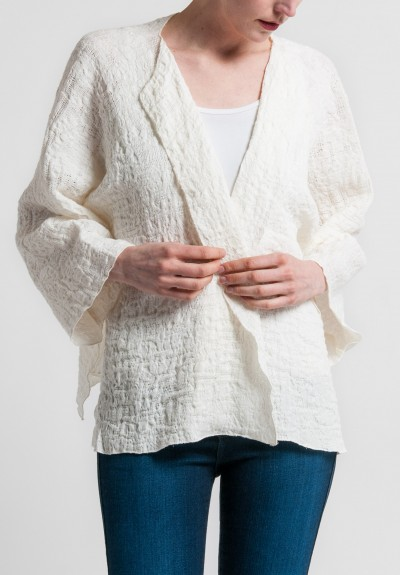 Shi Linen Jacquard Short Jacket in White
