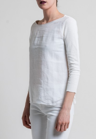 Majestic Linen & Cotton 3/4 Sleeve Boatneck Tee in Blanc