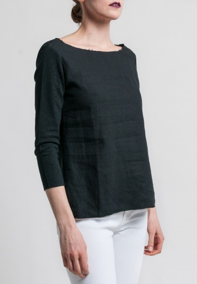 Majestic Linen & Cotton 3/4 Sleeve Boatneck Tee in Noir