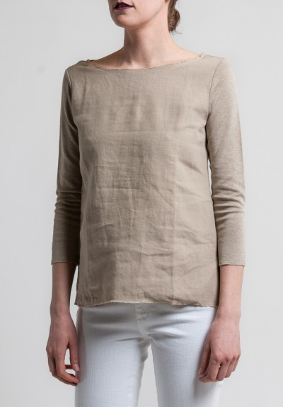 Majestic Linen & Cotton 3/4 Sleeve Boatneck Tee in Stone
