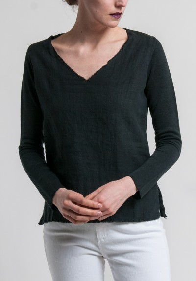 Majestic Linen & Cotton 3/4 Sleeve V-Neck Tee in Noir