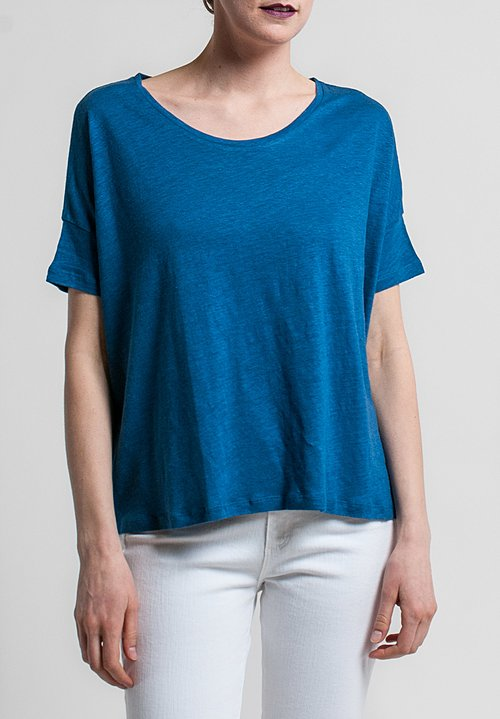 Majestic Linen/Silk Short Sleeve Swing Tee in Indigo