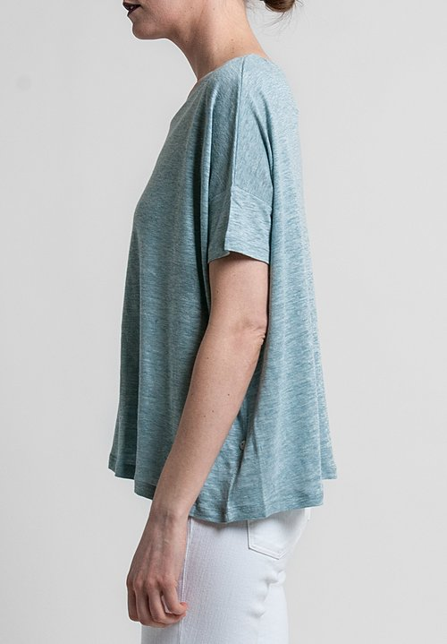 Majestic Linen/Silk Short Sleeve Swing Tee in Skyline