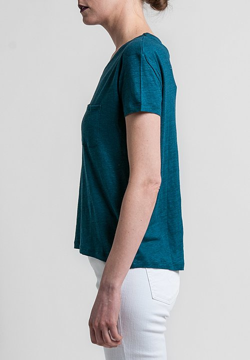 Majestic Linen/Silk Relaxed Round Neck Tee in Pacific Blue