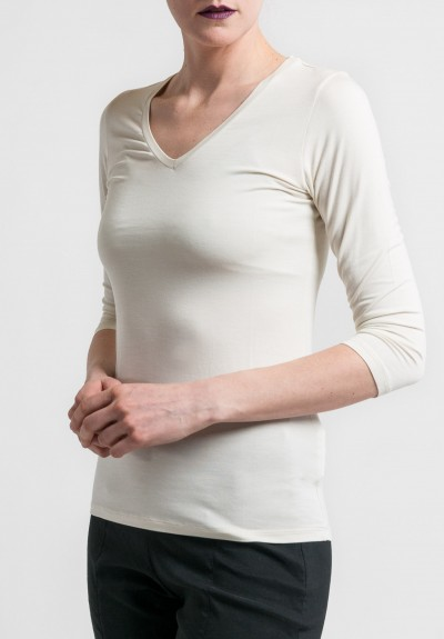 Majestic V-Neck 3/4 Sleeve Tee in Cream