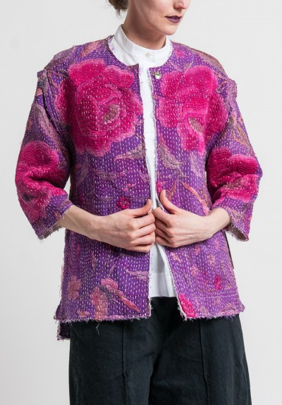 By Walid Antique Silk Piano Shawl Reshma Jacket in Purple