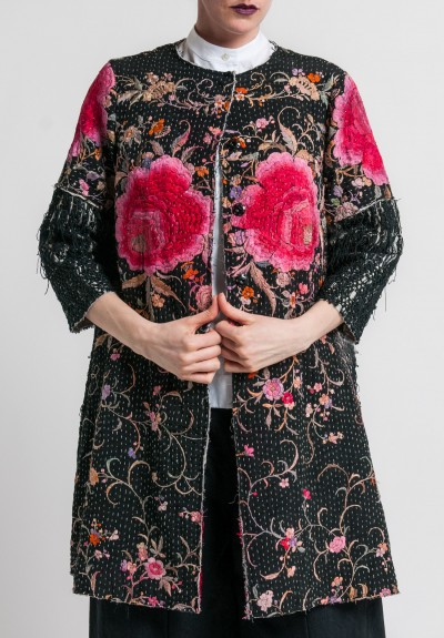 By Walid Antique Silk Piano Shawl Coat in Black/Fuchsia