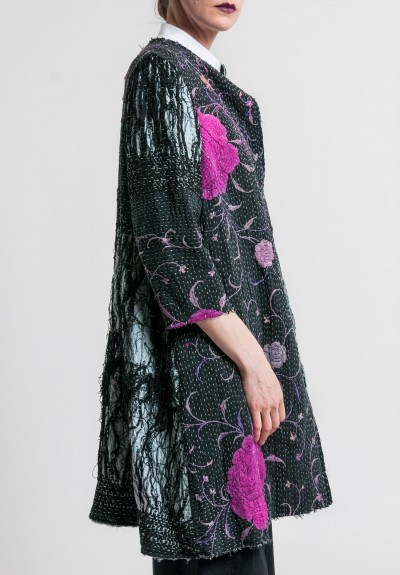 By Walid Antique Silk Piano Shawl Coat in Black/Purple