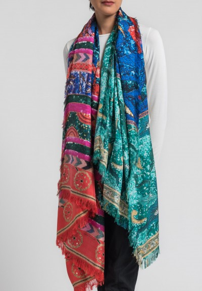Pierre-Louis Mascia Silk Aloeuw Sequin & Beading Print Scarf in Multicolor