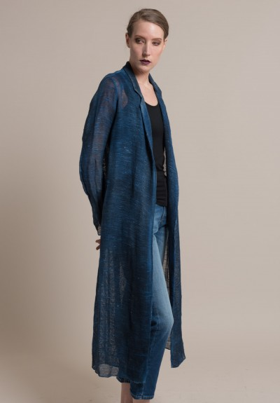 Avant Toi Linen/Cotton Mesh Duster Jacket in Cuba