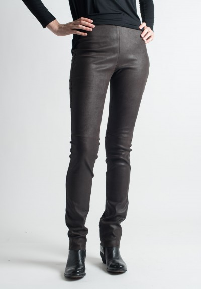 Ventcouvert Stretch Leather Leggings in Chocolate
