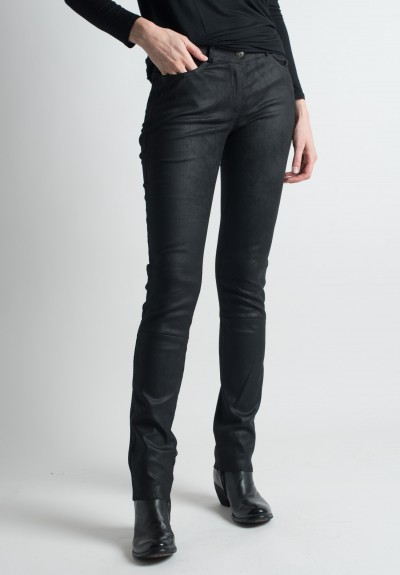 Ventcouvert Stretch Leather Jean Cut Pants in Black