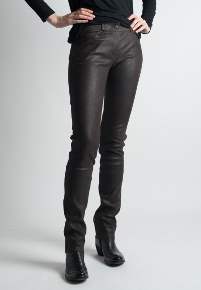 Ventcouvert Stretch Leather Jean Cut Pants in Chocolate