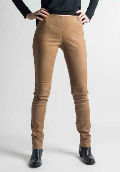 Ventcouvert Stretch Leather Leggings in Cognac