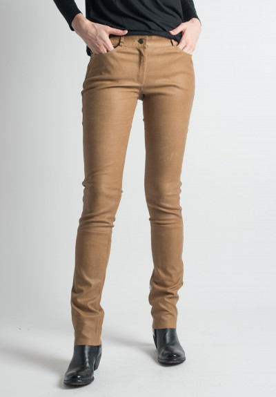 Ventcouvert Stretch Leather Jean Cut Pants in Cognac