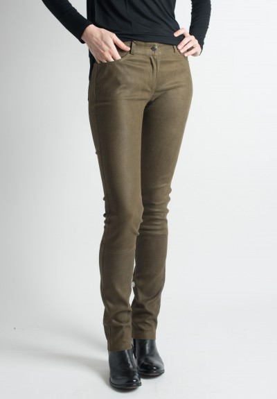Ventcouvert Stretch Leather Jean Cut Pants in Khaki