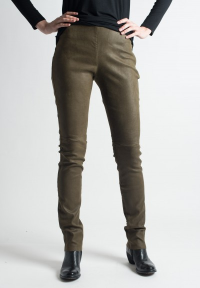 Ventcouvert Stretch Leather Leggings in Kaki