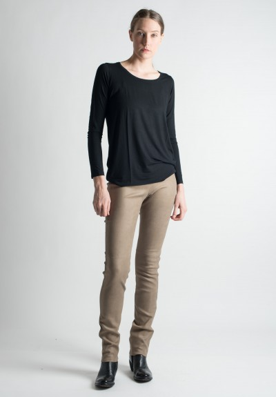 Ventcouvert Stretch Leather Leggings in Taupe