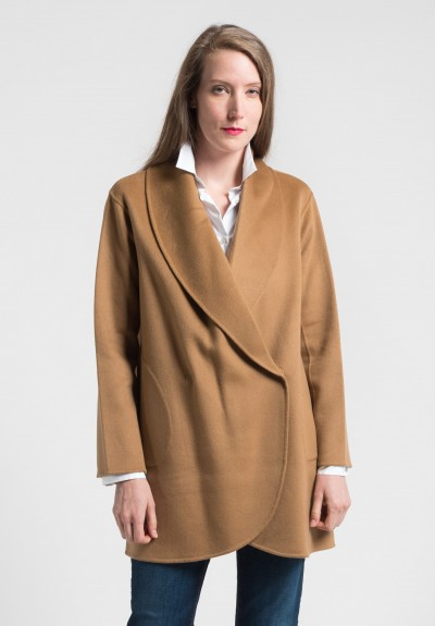 Pauw Cashmere Shawl Coat in Camel