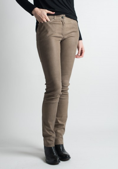 Ventcouvert Stretch Leather Jean Cut Pants in Taupe