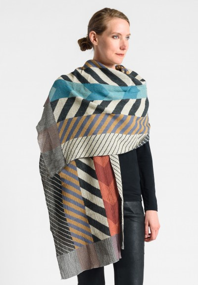 Nuno Chevron Pattern Shawl in Multicolor