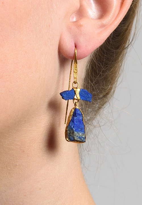 Lou Zeldis Lapis 2 Drop 22k Earrings