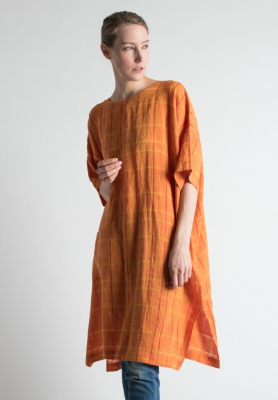 Eskandar Check Weave Tunic in Flame
