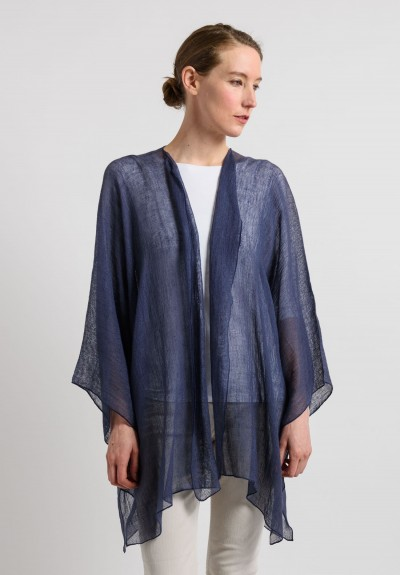 Shi Linen Gauze Long Open Cardigan in Navy