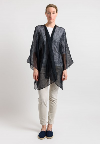Shi Linen Gauze Long Open Cardigan in Black