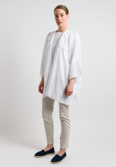 Shi Linen Long Open Cardigan in White