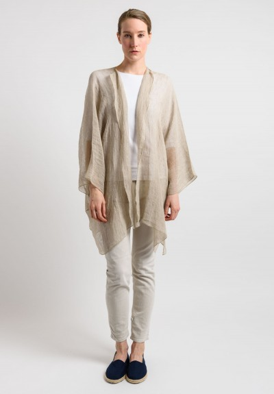 Shi Linen Gauze Long Open Cardigan in Beige