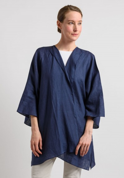 Shi Linen Long Open Cardigan in Navy