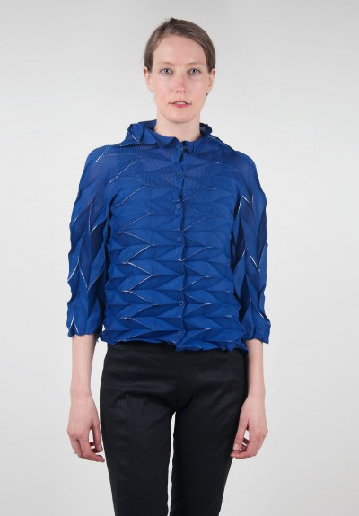 Issey miyake cauliflower pleated button down top in royal blue santa fe dry - Issey miyake rue royale ...