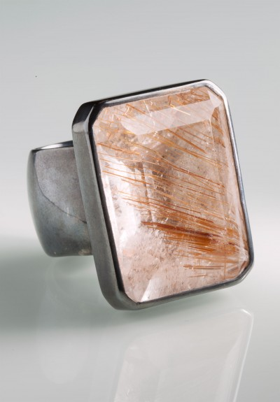 Monies Large Rutilated Quartz & Sterling Ring