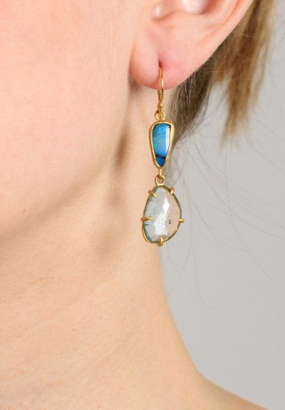 Margery Hirschey Boulder Opal and Aquamarine Earrings