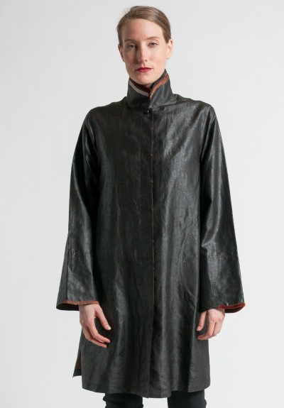 Sophie Hong Double Collar Silk Jacket in Black