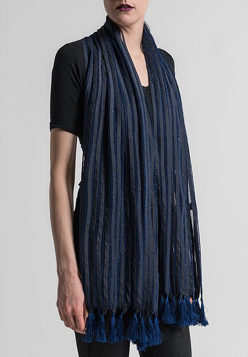 Sophie Hong Stitched Silk Ribbon and Tassel Scarf in Blue