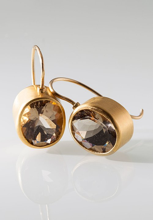 Heike Grebenstein Circular Smoky Quartz 22k Earrings