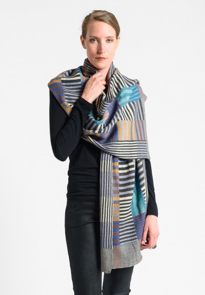 Nuno Color Plate Pattern Wool Shawl in Mix