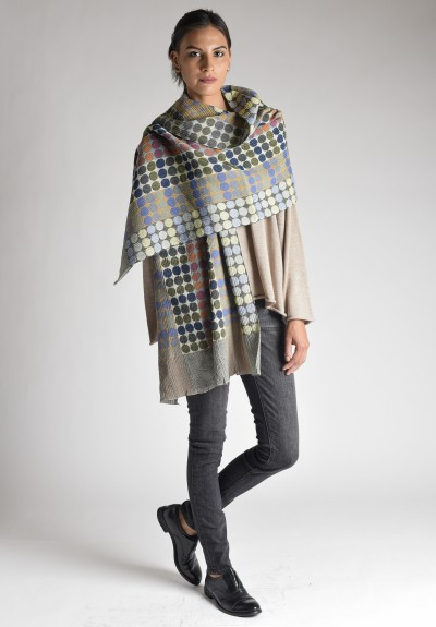 Nuno Circle Brick Pattern Wool Shawl in Green Mix