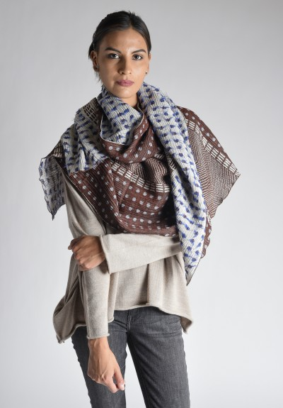 Nuno Lentils Shawl in Blue/Red