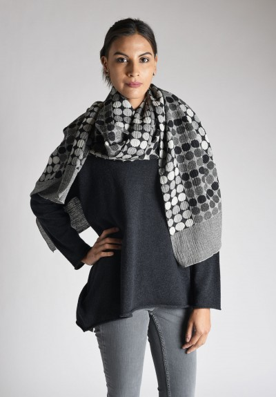 Nuno Circle Brick Pattern Wool Shawl in Black/White