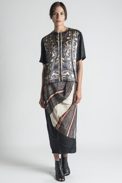 Gary Graham Block Print Silk Skirt in Black