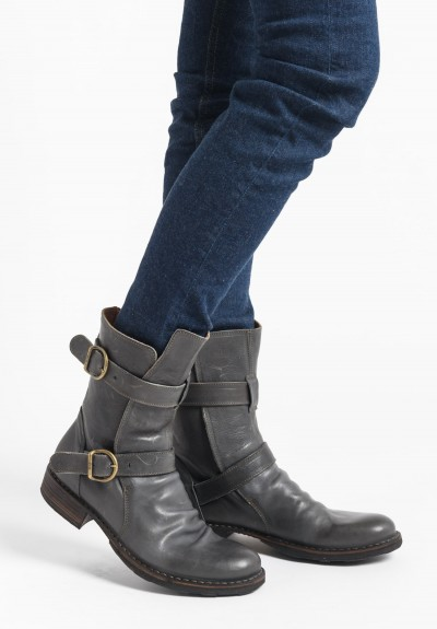 Fiorentini and Baker 713-15 Double Buckle Low Heel Leather Boot in Camerun