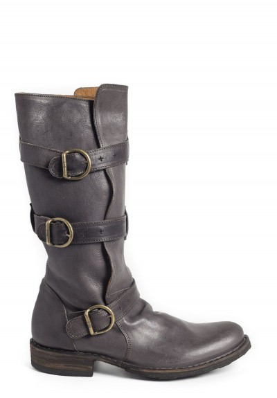 Fiorentini and Baker 7040-15 Triple Buckle Low Heel Leather Boot in Elmo