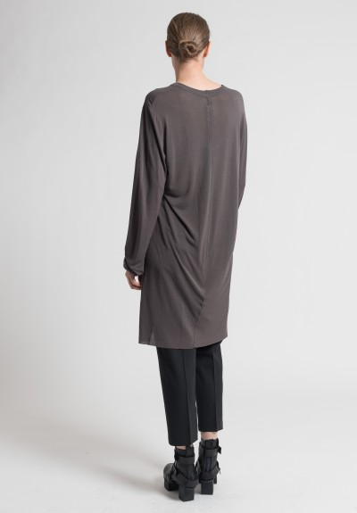 Rick Owens Basic Viscose Tunic in Darkdust