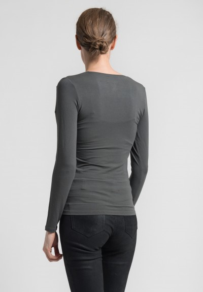 Majestic Long Sleeve V-Neck Top in Grey