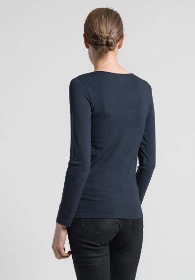 Majestic Thin Crew Neck Top in Marine
