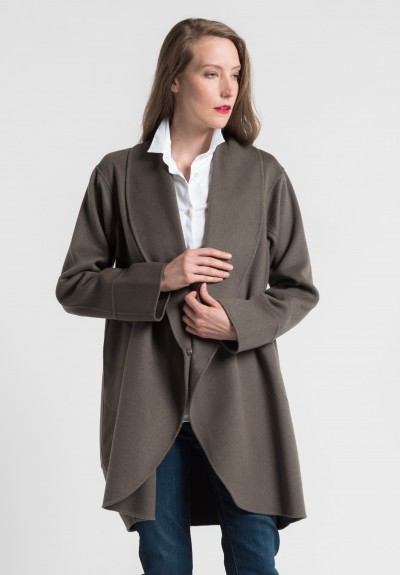 Pauw Cashmere Shawl Coat in Light Brown
