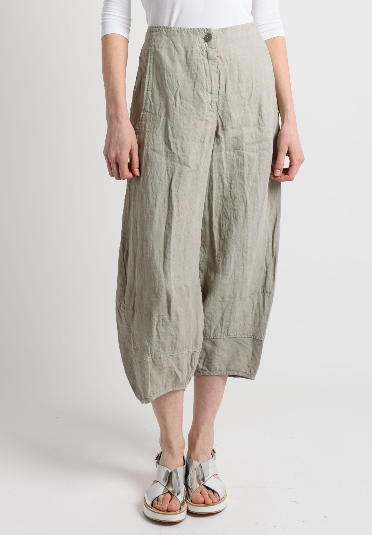 Oska Linen Cropped Wide Leg Pants In Beige Santa Fe Dry